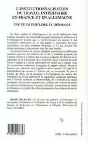 L'Institutionnalisation Du Travail Interimaire En France Et En Allemagne - 4ème de couverture - Format classique