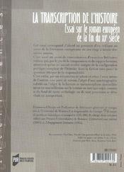 Transcription De L Histoire. Essai Sur Le Roman Europeen Contemporain - 4ème de couverture - Format classique