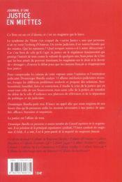 Journal d'une justice en miettes - 4ème de couverture - Format classique