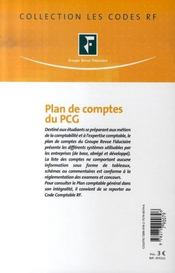 Plan de comptes du pcg (édition 2007) - 4ème de couverture - Format classique