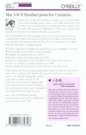Mac Os X Panther Pour Les Unixiens - 4ème de couverture - Format classique