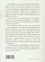 Petit dictionnaire du peuple a l'usage des quatre cinquiemes de la france - 4ème de couverture - Format classique