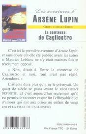 La comtesse de Cagliostro - 4ème de couverture - Format classique