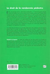 Le Droit De La Randonnee Pedeste - 4ème de couverture - Format classique