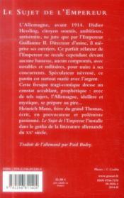 Le sujet de l'empereur - 4ème de couverture - Format classique