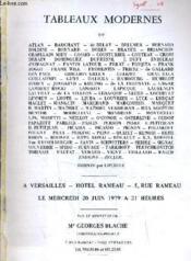 Catalogue Ventes Aux Encheres - Tableaux Modernes - A Versailles Hotel Rameau - Le Mercredi 20 Juin 1979. - Couverture - Format classique