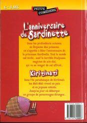 L'anniversaire de Sardinette ; Kiritimati ; 6/8 ans - 4ème de couverture - Format classique