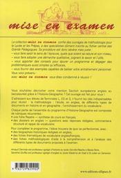 L'épreuve d'histoire-géographie à l'oral du baccalauréat ; sections européennes, anglais - 4ème de couverture - Format classique