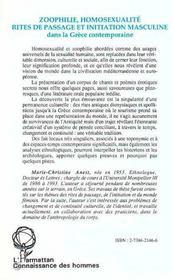 Zoophilie, Homosexualite, Rites De Passage Et Initiation Masculine Dans La Grece Contemporaine - 4ème de couverture - Format classique