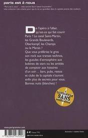 Nuits blanches à Paris (édition 2008) - 4ème de couverture - Format classique