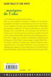 Musiques De Cuba - 4ème de couverture - Format classique
