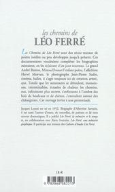 Chemins De Leo Ferre (Les) - 4ème de couverture - Format classique