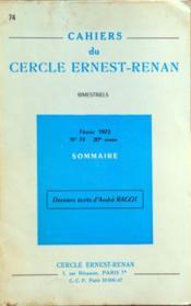 Cahiers Du Cercle Ernest Renan N°74 du 01/02/1972 - Couverture - Format classique
