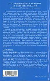 L'Accompagnement Managerial Et Industriel De La Pme - 4ème de couverture - Format classique