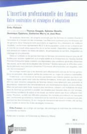 Insertion Professionnelle Des Femmes - 4ème de couverture - Format classique