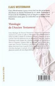 Theologie de l'ancien testament - 4ème de couverture - Format classique