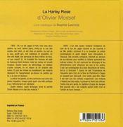 La harley rose d'olivier mosset ; livre catalogue de sophie lacroix - 4ème de couverture - Format classique