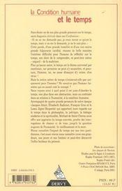 La Condition Humaine Et Le Temps - 4ème de couverture - Format classique
