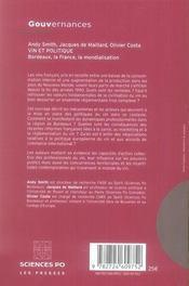 Vin et politique ; Bordeaux, la France, la mondialisation - 4ème de couverture - Format classique