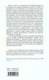 Le Sens De La Lutte Contre L'Africanisme Eurocentriste - 4ème de couverture - Format classique