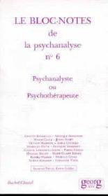 Psychanalyste ou psychotherapeute - Couverture - Format classique