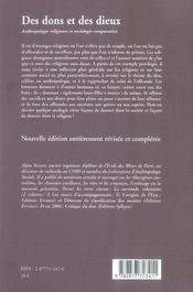 Des Dons Et Des Dieux - 4ème de couverture - Format classique