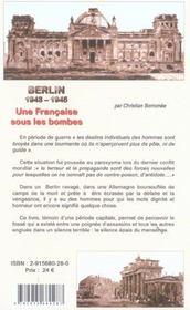 Berlin, 1943-1945 ; une française sous les bombes - 4ème de couverture - Format classique