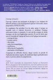 Optique Exercices Corriges D'Optique Optique Instrumentale Optique De Fourier - 4ème de couverture - Format classique