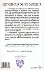 Cet Obscur Objet Du Desir ; Essai Sur Les Amours Fantastiques - 4ème de couverture - Format classique