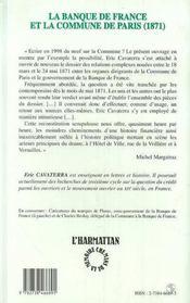 La Banque De France Et La Commune De Paris : 1871 - 4ème de couverture - Format classique