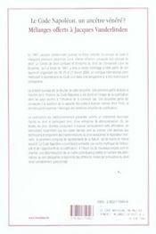 Code Napoleon, Ancetre Venere Melange Jean Vanderlinden - 4ème de couverture - Format classique