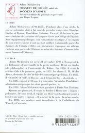 Le Sonnets De Crimee - 4ème de couverture - Format classique