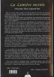 Chercher Dieu Aujourd'Hui Ou La Lumiere Incree - 4ème de couverture - Format classique