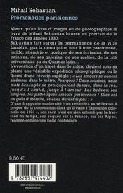 Promenades parisiennes - 4ème de couverture - Format classique