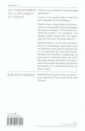 Les indispensables de la mécanique quantique - 4ème de couverture - Format classique