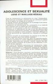 Adolescence Et Sexualite ; Liens Et Maillage-Reseau - 4ème de couverture - Format classique