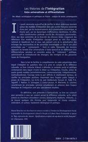 Les Theories De L'Integration - 4ème de couverture - Format classique