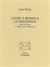 Lettre A Monsieur Le Percepteur - Couverture - Format classique
