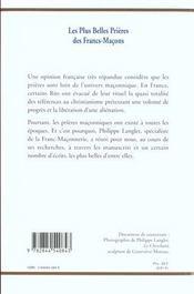 Les plus belles prieres des francs-macons - 4ème de couverture - Format classique