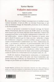 Voltaire méconnu ; aspects cachés de l'humanisme des lumières (1750-1800) - 4ème de couverture - Format classique