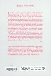 Balzac Et Le Temps - 4ème de couverture - Format classique