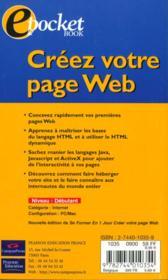 Creer Votre Page Web - 4ème de couverture - Format classique