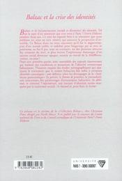 Balzac Et La Crise Des Identites - 4ème de couverture - Format classique