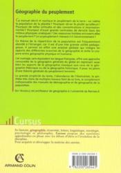 Geographie Du Peuplement - Couverture - Format classique