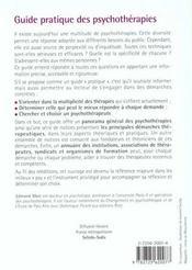 Guide Pratique Psychotherapies - 4ème de couverture - Format classique