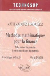Méthodes mathématiques pour la finance ; mathématiques financières - Intérieur - Format classique