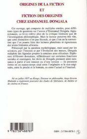 Origines De La Fiction Et Fiction Des Origines Chez Emmanuel Dongala - 4ème de couverture - Format classique