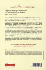 La psychothérapie de soutien ; une perspective psychanalytique - 4ème de couverture - Format classique