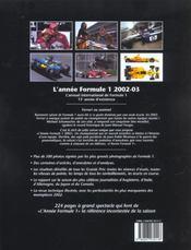 L'annee formule 1 ; edition 2002-2003 - 4ème de couverture - Format classique