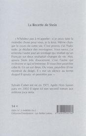 Recette De Stein (La) - 4ème de couverture - Format classique